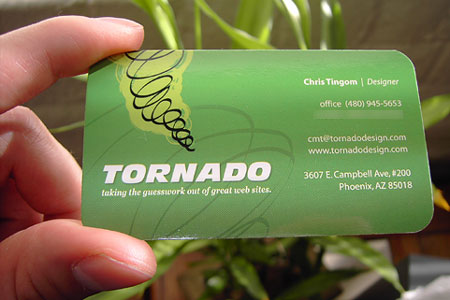 Tornado's new business cards from overnightprints.com