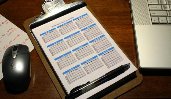 2008 WorkWeek Calendar