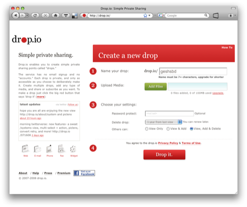 Drop.io signup