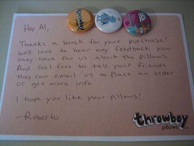 Throwboy customer thank you note